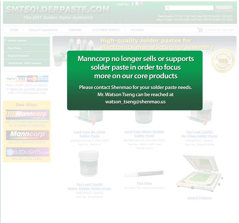 Manncorp no longer sells or supports Solder Paste in order to focus more on our core products.